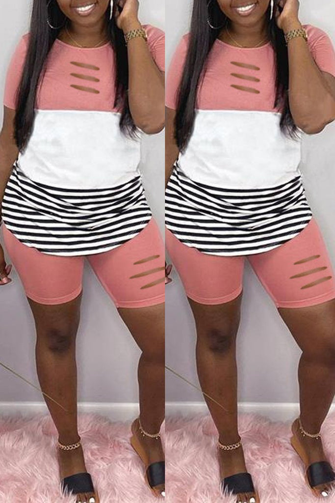 Distressed Stripe Patchwork Casual Top & Shorts