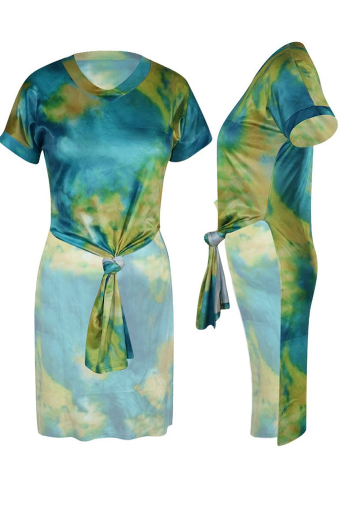 Tie Dye V-neck Slit Hem Short Sleeve T Shirt