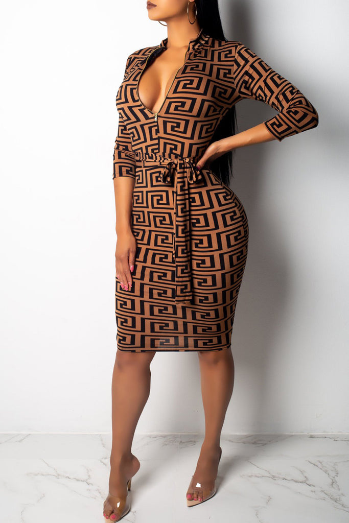 Fashion Print Zipper Long Sleeve Midi Dress - WHATWEARS