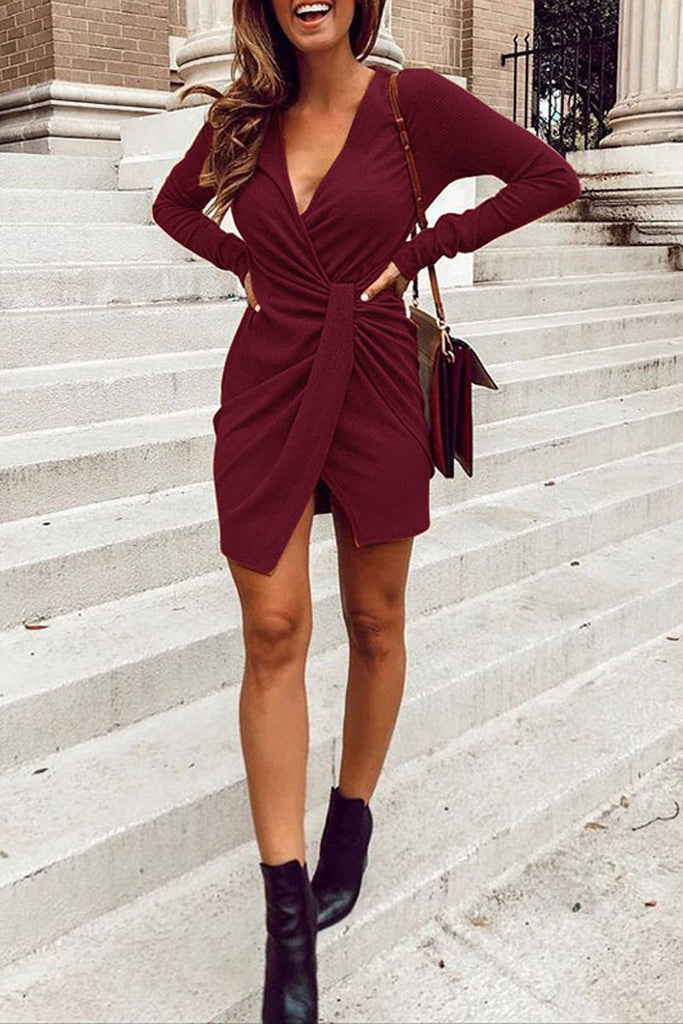 Casual Solid V-neck Long Sleeve Mini Dress - WHATWEARS