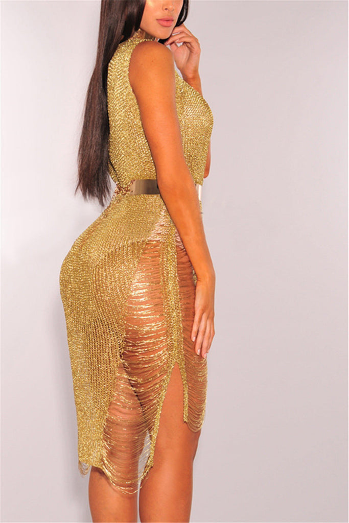 Gold Distressed Cocktail Cover Up - WHATWEARS