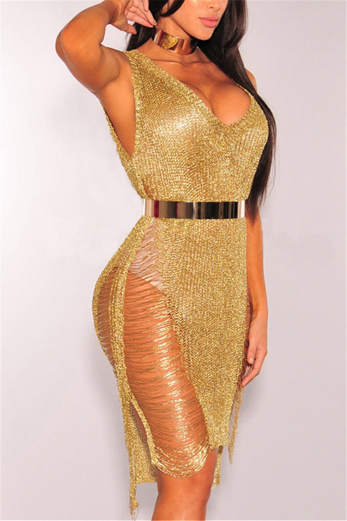 Gold Distressed Cocktail Dress - WHATWEARS