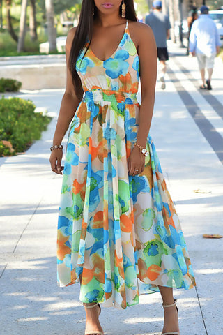 Plus Size Flower Printed High Waist Sleeveless  Maxi Dress