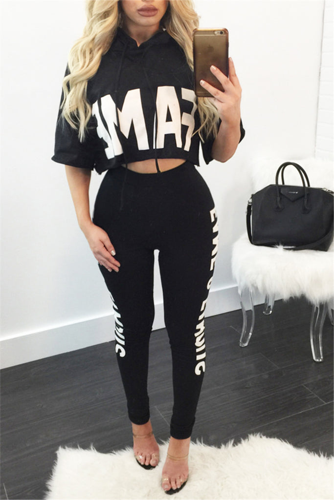 Fame Cropped Hooded Top & Leggings - WHATWEARS