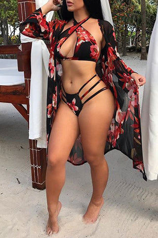 Flower Printed Bandage Bikini and Cover Up фото