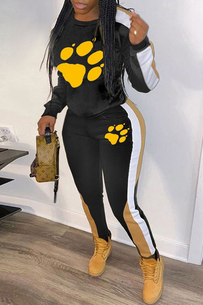 Color Block Round Neck Paw Print Two Piece Sets