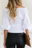 Solid Puff Sleeve Off The Shoulder Bandage Bow Blouse