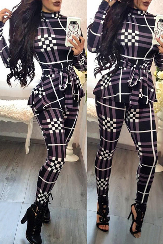 Fashion Casual Plaid Print Jumpsuit With Belt