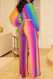 Rainbow Stripe V-Neck Puff Sleeve Wide Leg Jumpsuit With Belt