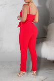 Solid Color Pocket Sleeveless Jumpsuit With Belt