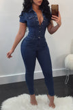 Plus Size Turndown Collar Short Sleeve Jumpsuit