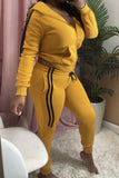 Plus Size Side Striped Hooded Collar Two Piece Sets