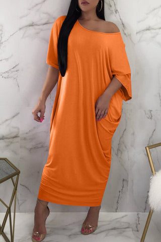 High Low Solid Color Short Sleeve T Shirt Dress