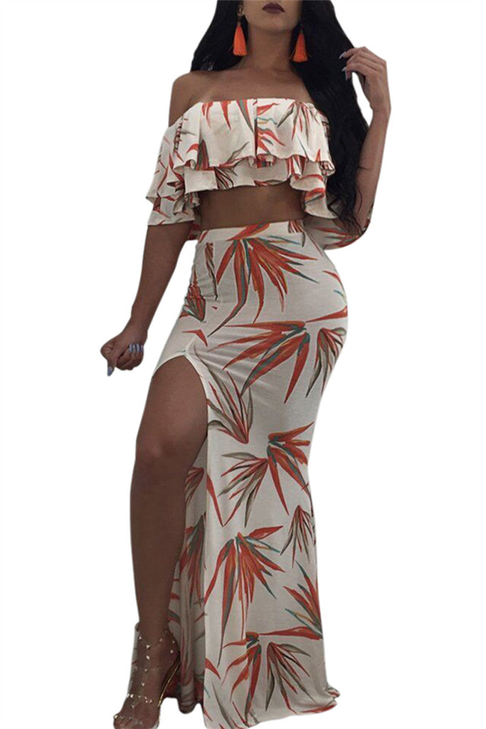 Off the Shoulder Ruffled High Slit Two Piece Dress