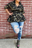 Camouflage Print Ruffle Button Coat With Belt - WHATWEARS