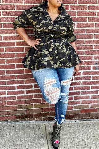Camouflage Button Up Letter Print Casual Coat
