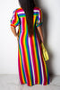 Color Block Stripe Turndown Collar Dress