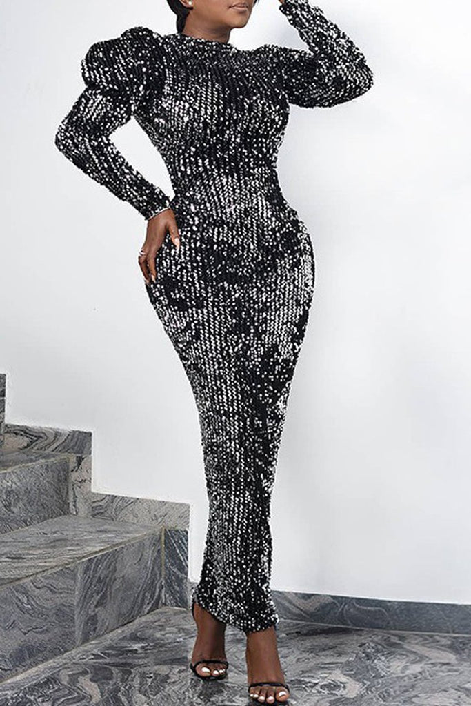 Sequin Puff Sleeve Party Maxi Dress