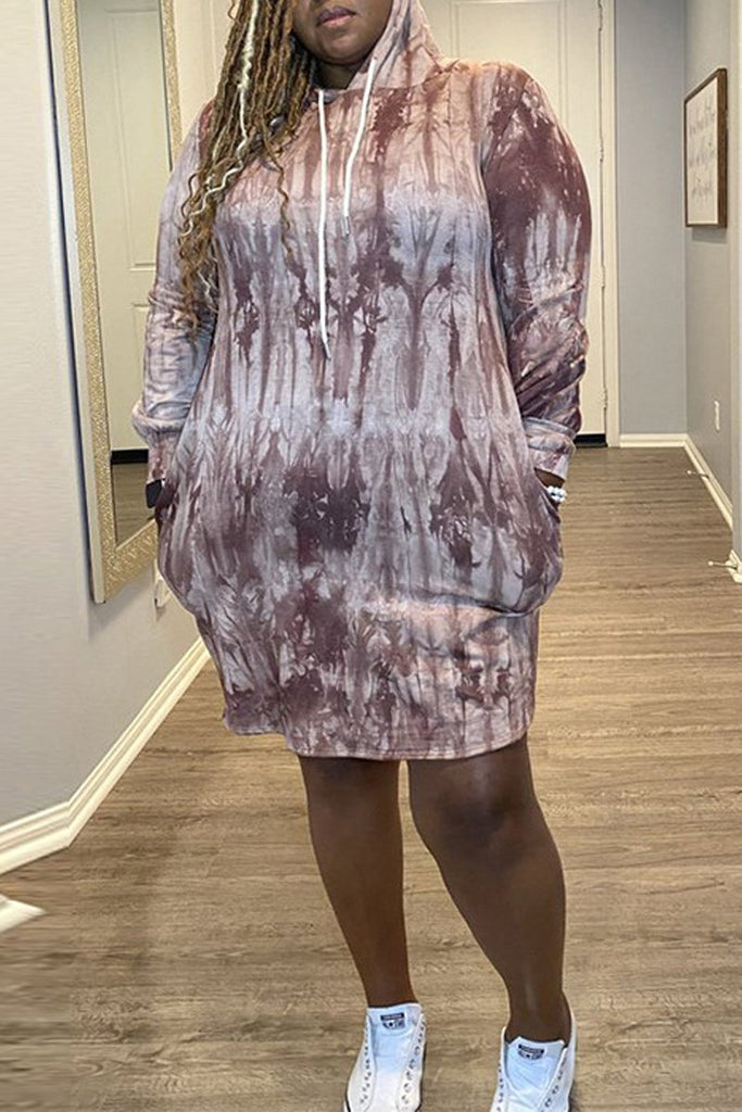 Plus Size Hooded Collar Tie Dye Pocket Midi Dress