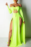 Solid Color Off The Shoulder Slit Hem Long Sleeve Maxi Dress