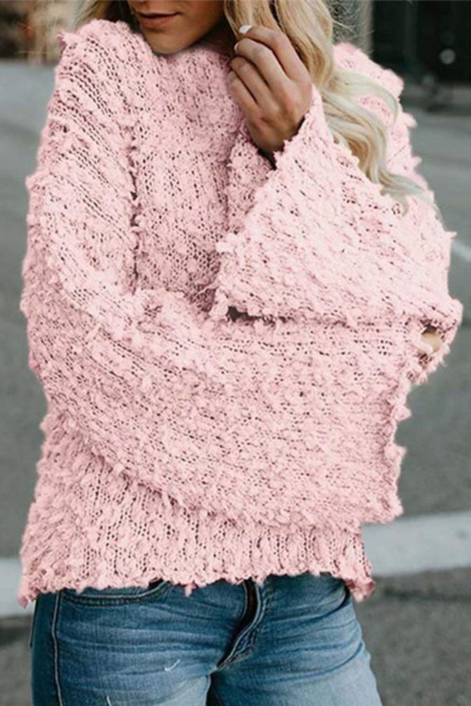 Flare Sleeve Knitted Solid Color Round Neck Top - WHATWEARS