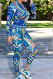 Blue Patterned Long Sleeve Catsuit - WHATWEARS
