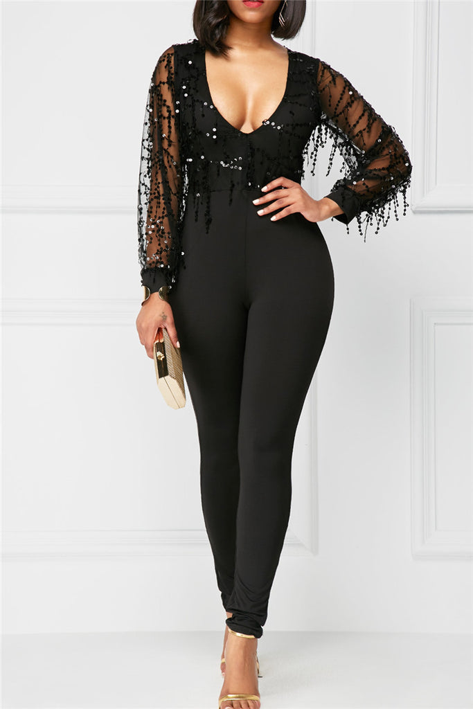 Black Sheer Sequin All-in-One - WHATWEARS
