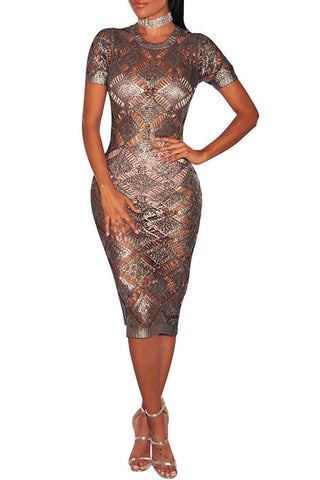 See-Thru Metallic Wiggle Dress
