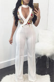 Applique Rose Tuxedo Jumpsuit - WHATWEARS