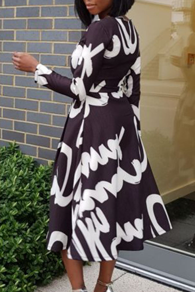 Printed High Waist Long Sleeve Maxi Dress