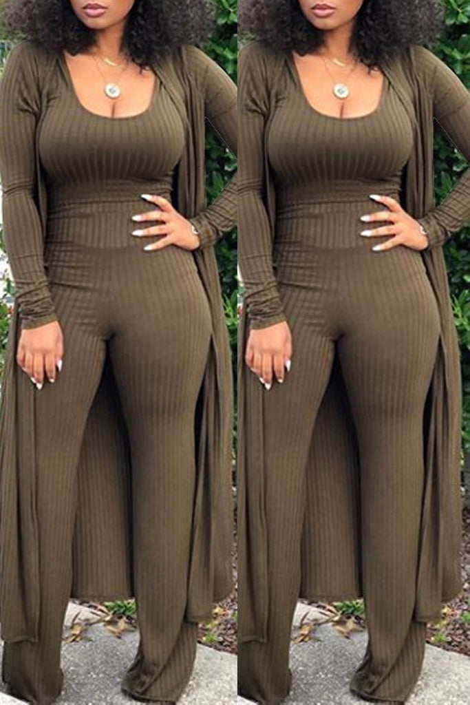 Solid Color Rib Casual Three-Piece Sets