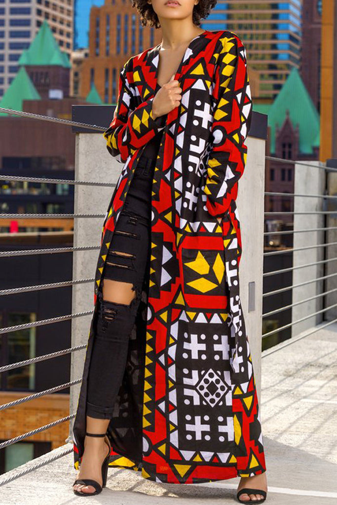 Casual Print Long Sleeve Fashion Coat With Belt - WHATWEARS