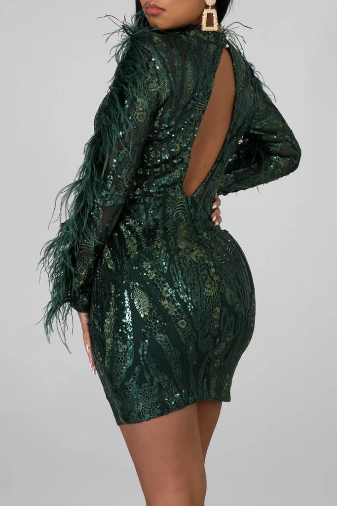 Sequins Feather Open Back Club Dress