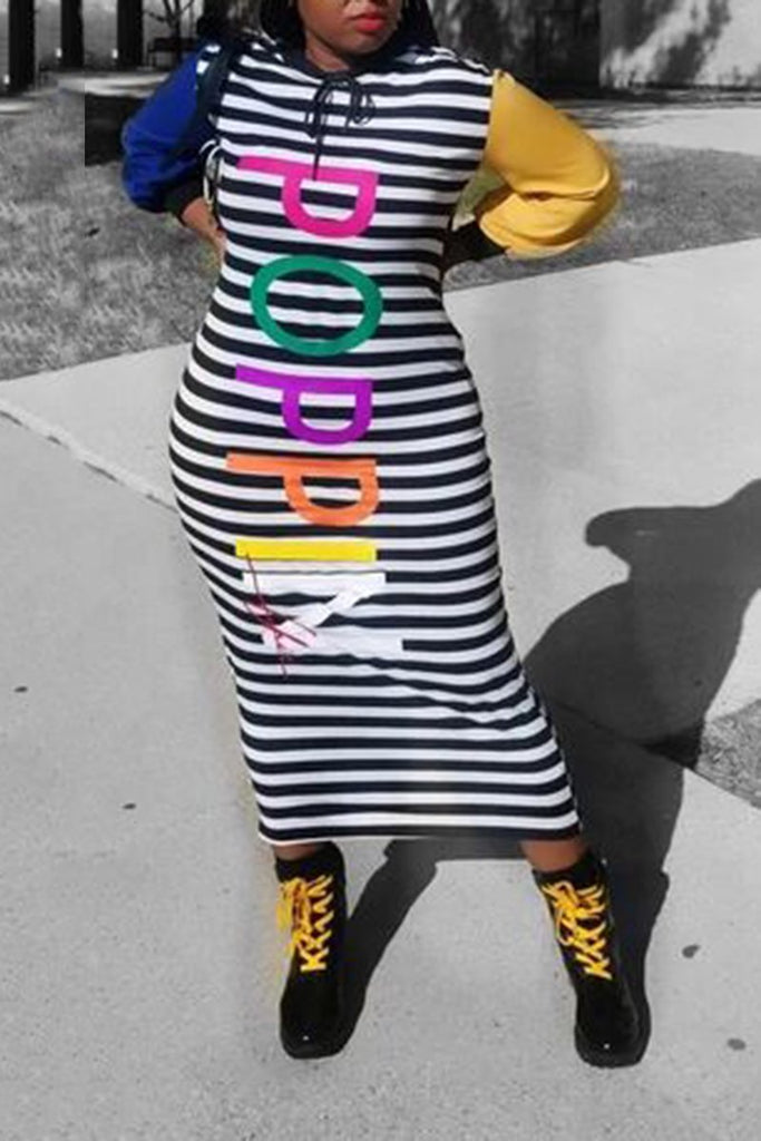 Colorful Letter Striped Hooded Collar Dress