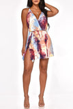 V-Neck Tie Dye Side Slit Ruffled Mini Dress