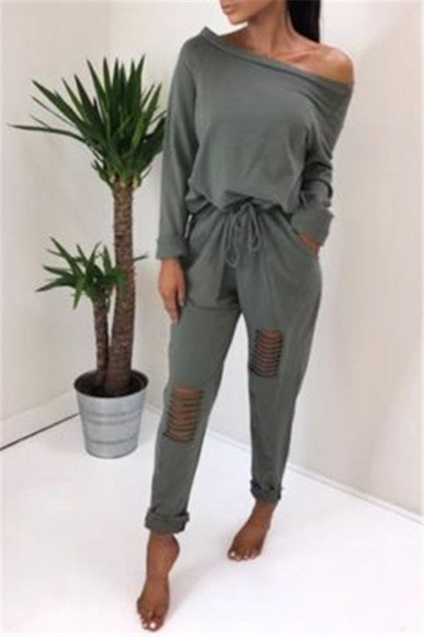 One Shoulder Leg Ripped Jumpsuit