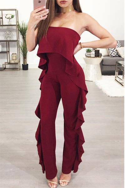 Ruffle Side Off Shoulder Jumpsuit
