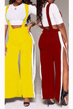 Color Pop Open Leg Overalls - WHATWEARS