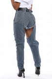 Hole Distressed Hollow Out Jeans Without Belt