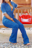 Retro Denim V Neck Jumpsuit