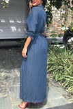 Turndown Collar Button Long Sleeve Denim Dress With Belt