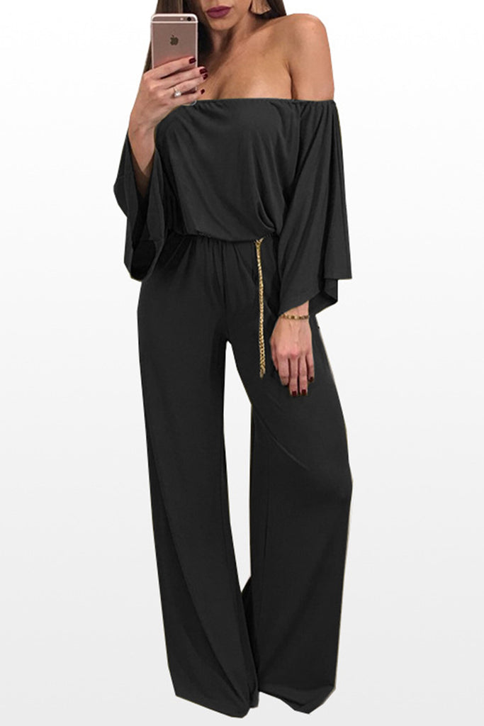 Off The Shoulder Ruffled Jumpsuit With Belt