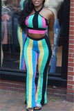 Colorful Stripe Print Halter Two Piece Outfits - WHATWEARS