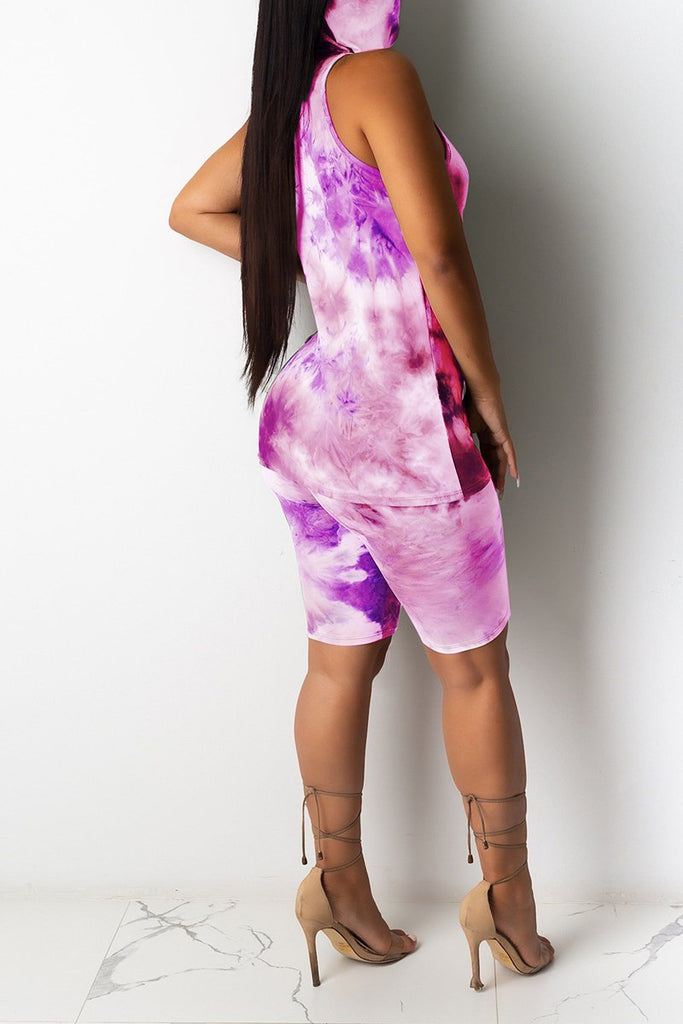 Tie Dye Sleeveless Casual Top & Shorts