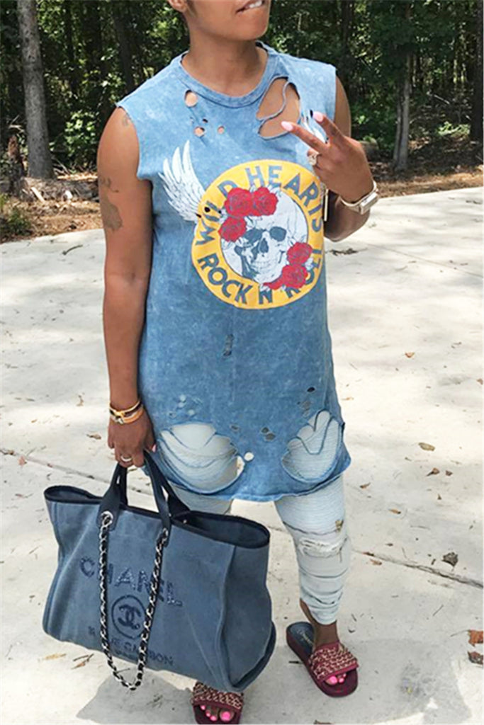 Blue Distressed Rock & Roll T-Shirt - WHATWEARS