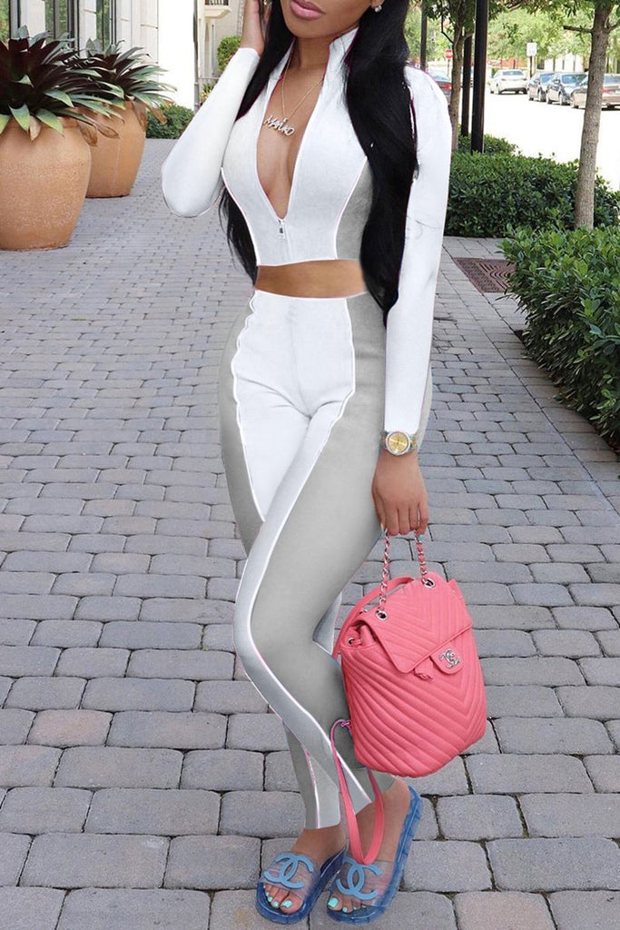 Color Patchwork Zipper Up Casual Two Piece Sets