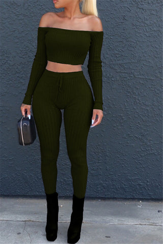 Ribbed Off Shoulder Top and Leggings