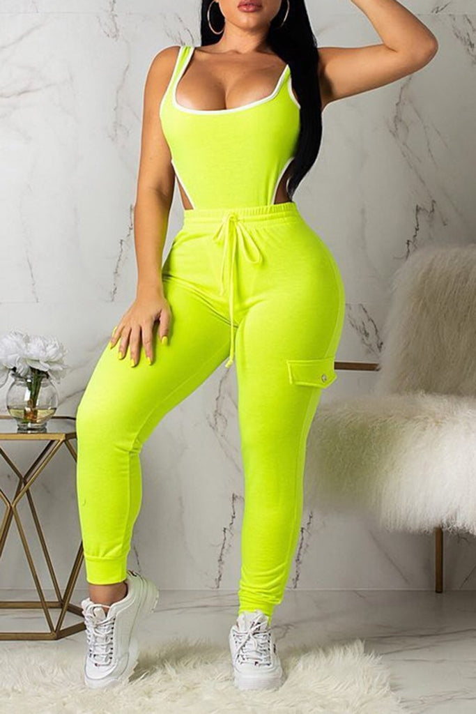 Bandage Solid Color Sleeveless Two Piece Sets