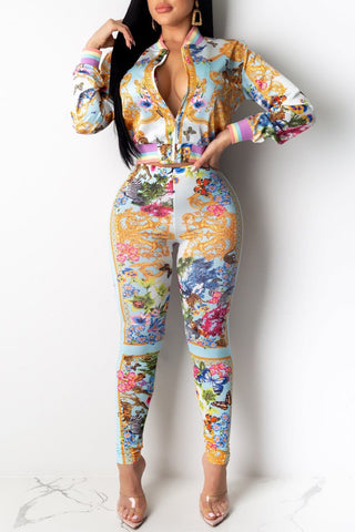 Whatwears coupon: Printed Zipper Collar Casual Two Piece Sets