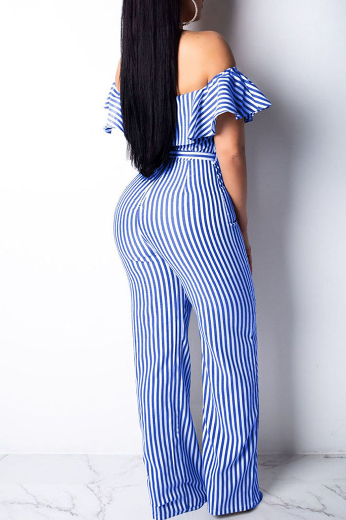 Sexy Flounced Off The Shoulder Stripe Jumpsuit